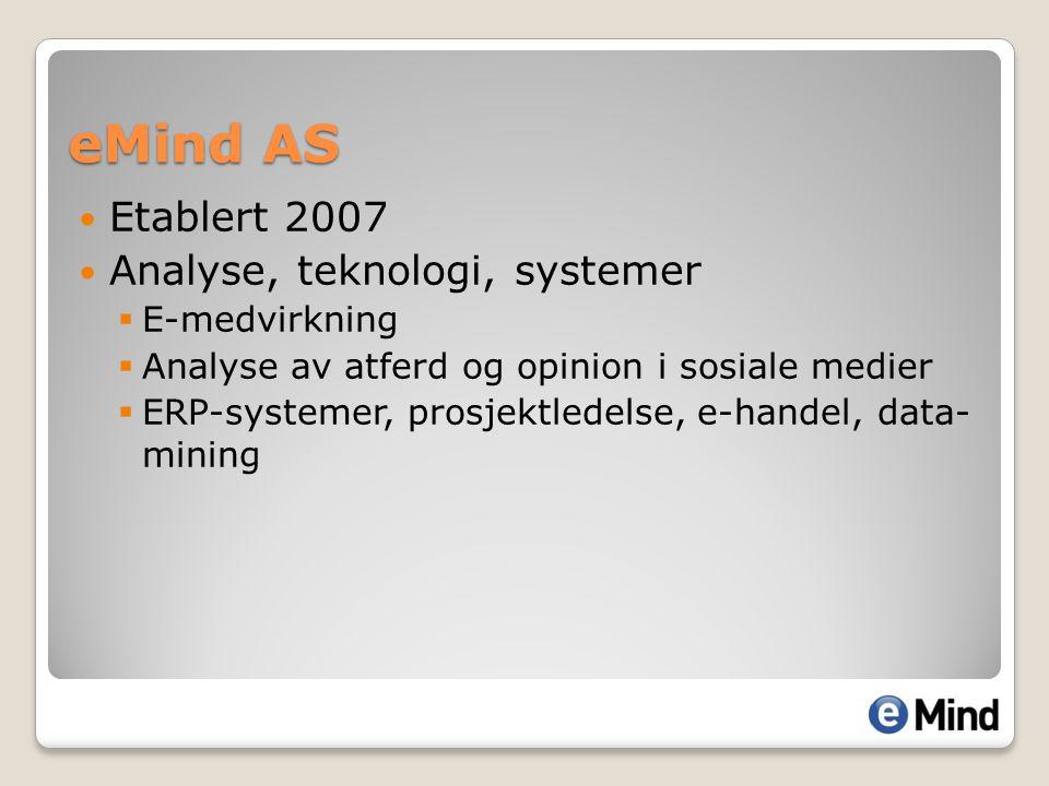 Etablert 2007 Analyse, teknologi, systemer  E-medvirkning  Analyse av atferd og opinion i sosiale medier  ERP-systemer, prosjektledelse, e-handel,