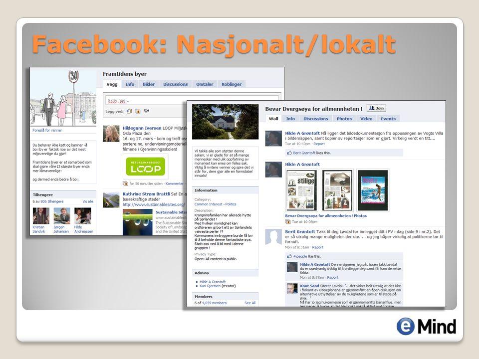 Facebook: Nasjonalt/lokalt