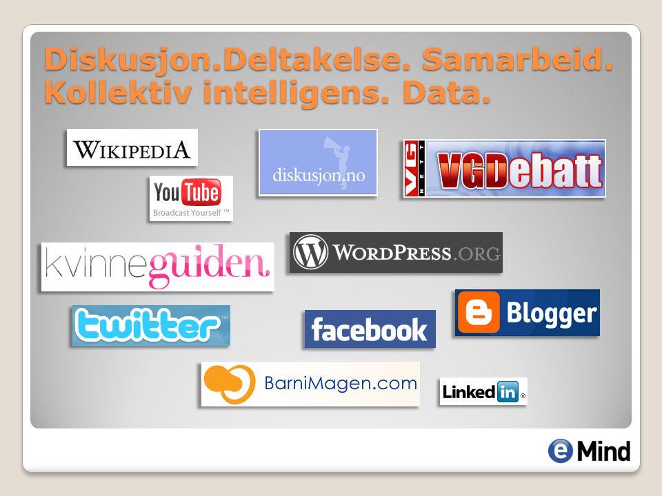 Diskusjon.Deltakelse. Samarbeid. Kollektiv intelligens. Data.