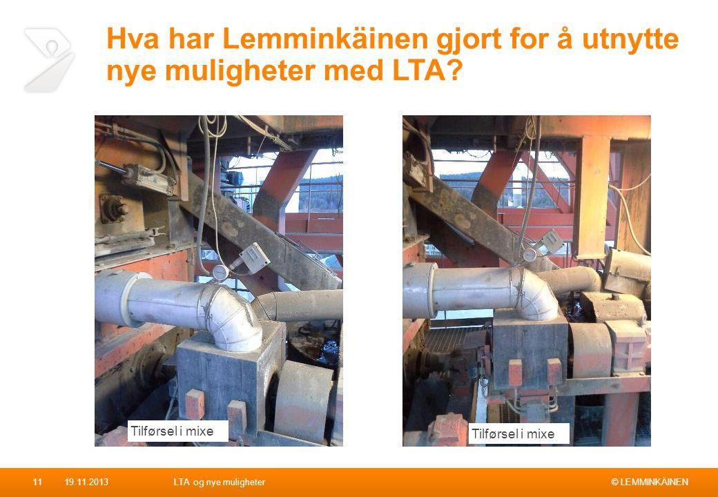 © LEMMINKÄINEN Hva har Lemminkäinen gjort for å utnytte nye muligheter med LTA? 19.11.2013LTA og nye muligheter11 Tilførsel i mixe