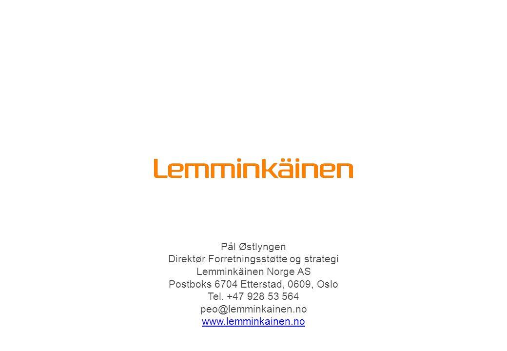 Pål Østlyngen Direktør Forretningsstøtte og strategi Lemminkäinen Norge AS Postboks 6704 Etterstad, 0609, Oslo Tel. +47 928 53 564 peo@lemminkainen.no
