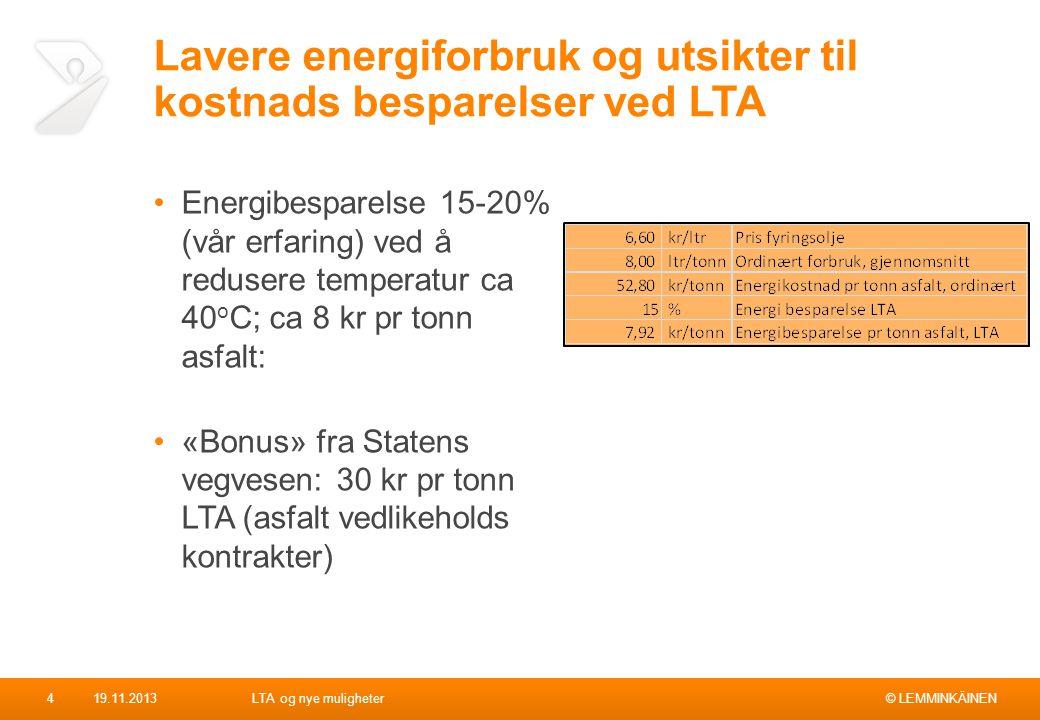 © LEMMINKÄINEN Lavere energiforbruk og utsikter til kostnads besparelser ved LTA Energibesparelse 15-20% (vår erfaring) ved å redusere temperatur ca 4