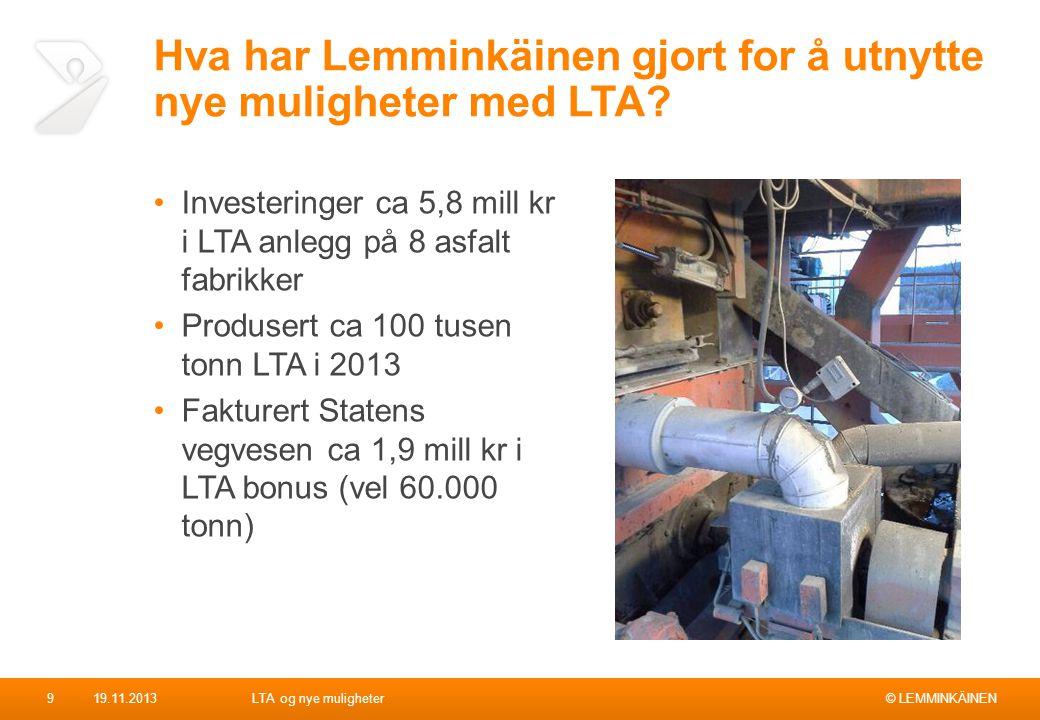 © LEMMINKÄINEN Hva har Lemminkäinen gjort for å utnytte nye muligheter med LTA? Investeringer ca 5,8 mill kr i LTA anlegg på 8 asfalt fabrikker Produs