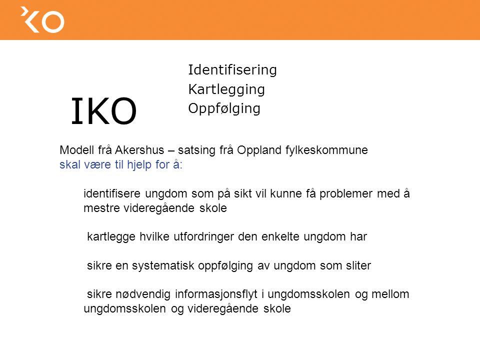 IKO Identifisering Kartlegging Oppfølging Modell frå Akershus – satsing frå Oppland fylkeskommune skal være til hjelp for å: identifisere ungdom som p