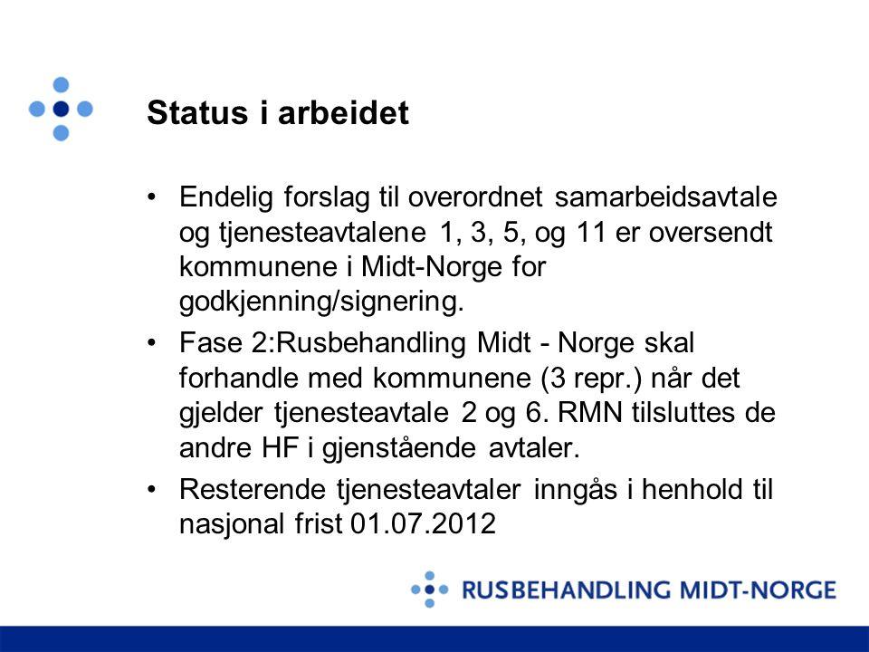 Status i arbeidet Endelig forslag til overordnet samarbeidsavtale og tjenesteavtalene 1, 3, 5, og 11 er oversendt kommunene i Midt-Norge for godkjenni