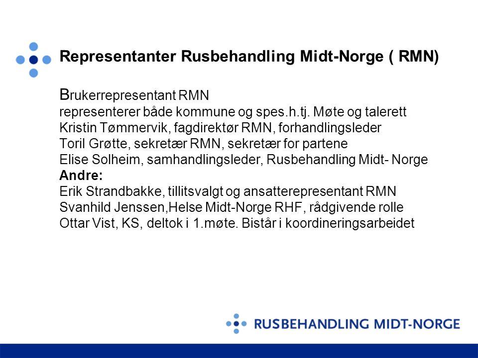 Representanter Rusbehandling Midt-Norge ( RMN) B rukerrepresentant RMN representerer både kommune og spes.h.tj. Møte og talerett Kristin Tømmervik, fa