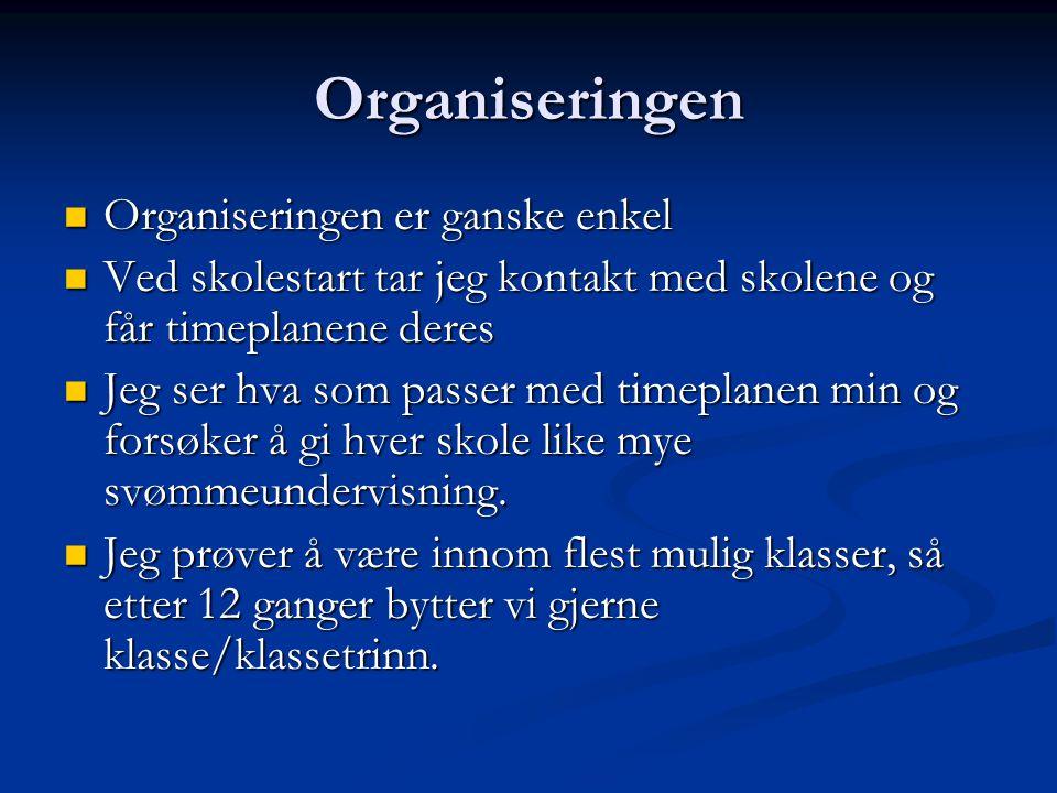 Organiseringen Organiseringen er ganske enkel Organiseringen er ganske enkel Ved skolestart tar jeg kontakt med skolene og får timeplanene deres Ved s