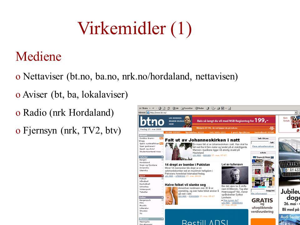 Virkemidler (1) Mediene o Nettaviser (bt.no, ba.no, nrk.no/hordaland, nettavisen) o Aviser (bt, ba, lokalaviser) o Radio (nrk Hordaland) o Fjernsyn (nrk, TV2, btv)