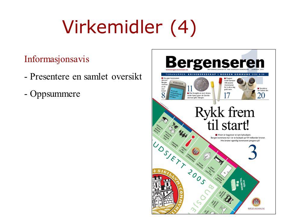 Virkemidler (4) Informasjonsavis - Presentere en samlet oversikt - Oppsummere