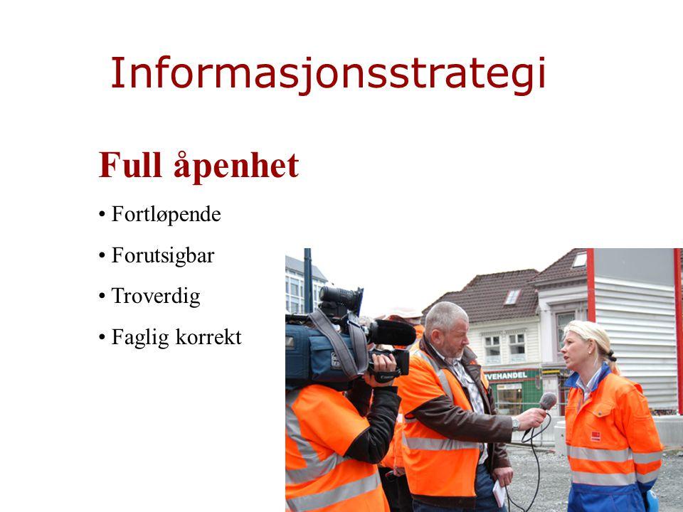 Informasjonsstrategi Full åpenhet Fortløpende Forutsigbar Troverdig Faglig korrekt