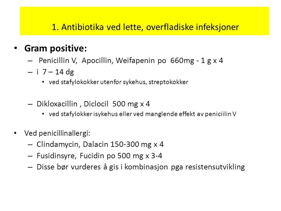 1. Antibiotika ved lette, overfladiske infeksjoner Gram positive: – Penicillin V, Apocillin, Weifapenin po 660mg - 1 g x 4 – i 7 – 14 dg ved stafyloko