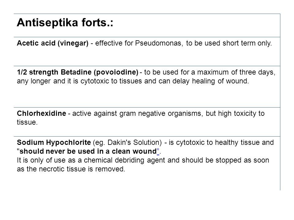 Antiseptika forts.: Acetic acid (vinegar) - effective for Pseudomonas, to be used short term only. 1/2 strength Betadine (povoiodine) - to be used for