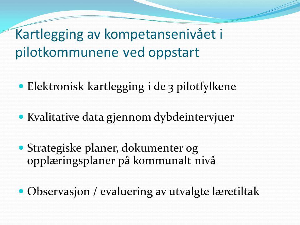 Kartlegging av kompetansenivået i pilotkommunene ved oppstart Elektronisk kartlegging i de 3 pilotfylkene Kvalitative data gjennom dybdeintervjuer Str