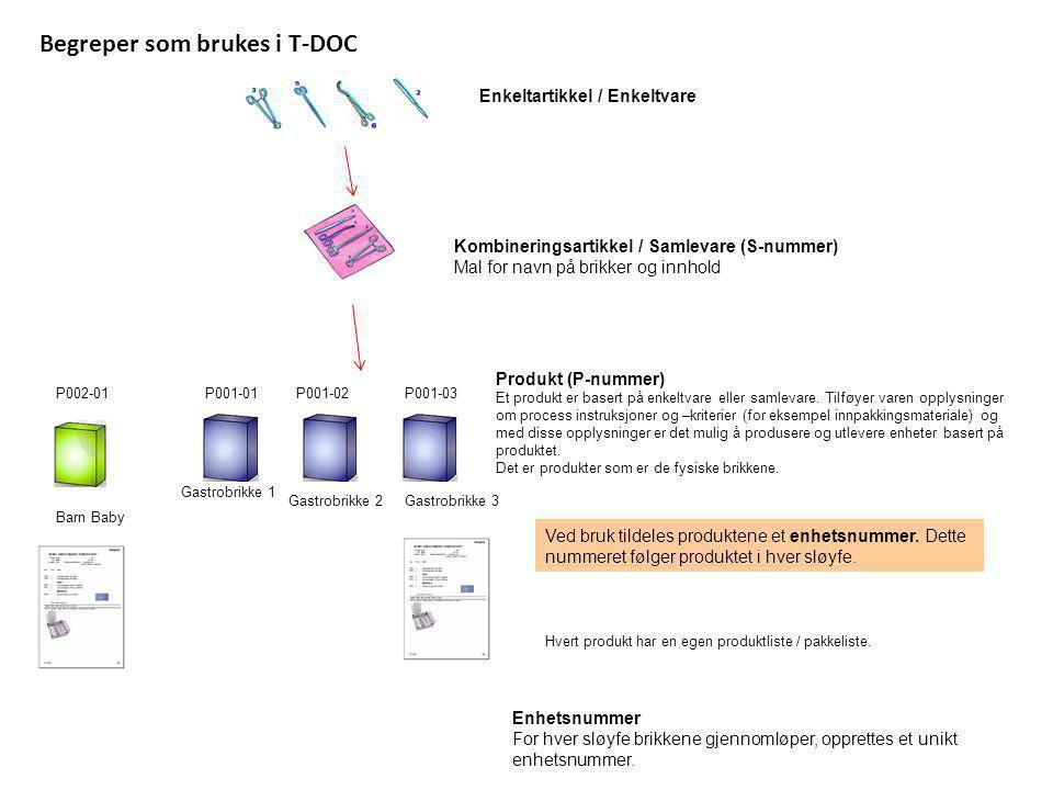 Begreper som brukes i T-DOC Enkeltartikkel / Enkeltvare Kombineringsartikkel / Samlevare (S-nummer) Mal for navn på brikker og innhold P001-01P001-02P