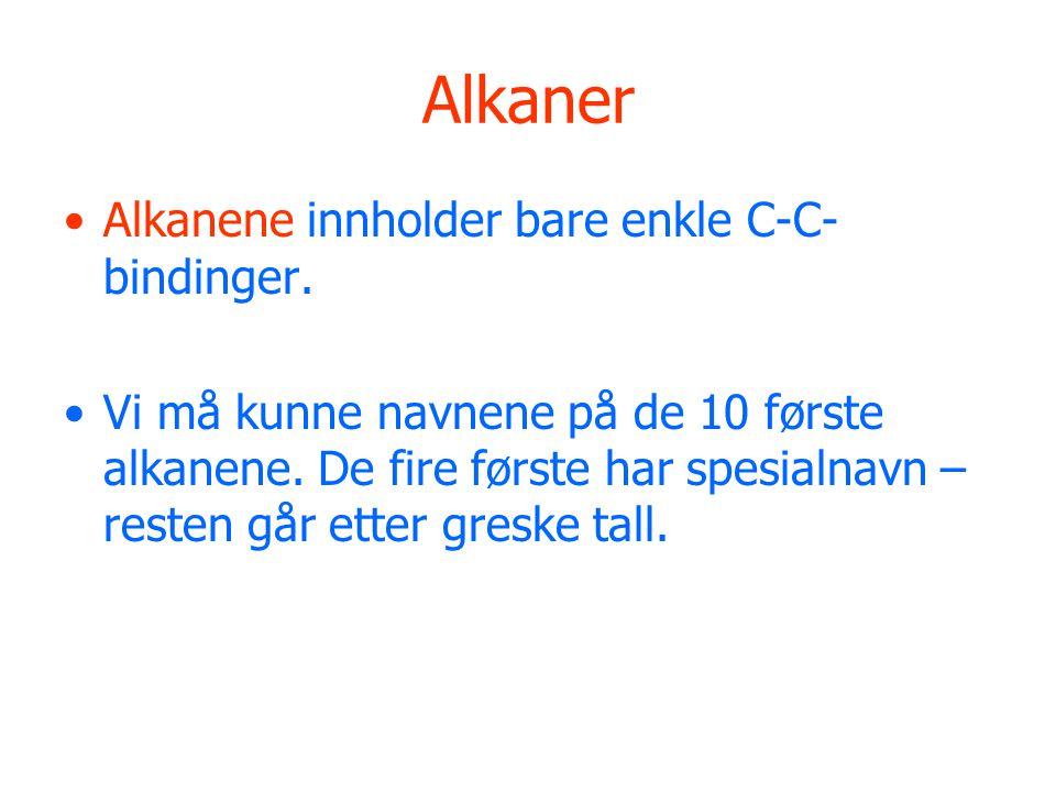 Alkaner Alkanene innholder bare enkle C-C- bindinger. Vi må kunne navnene på de 10 første alkanene. De fire første har spesialnavn – resten går etter