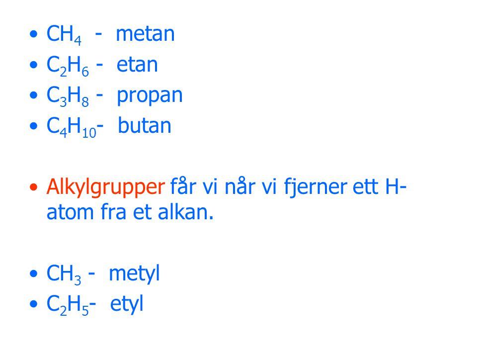 CH 4 - metan C 2 H 6 - etan C 3 H 8 - propan C 4 H 10 - butan Alkylgrupper får vi når vi fjerner ett H- atom fra et alkan. CH 3 - metyl C 2 H 5 - etyl