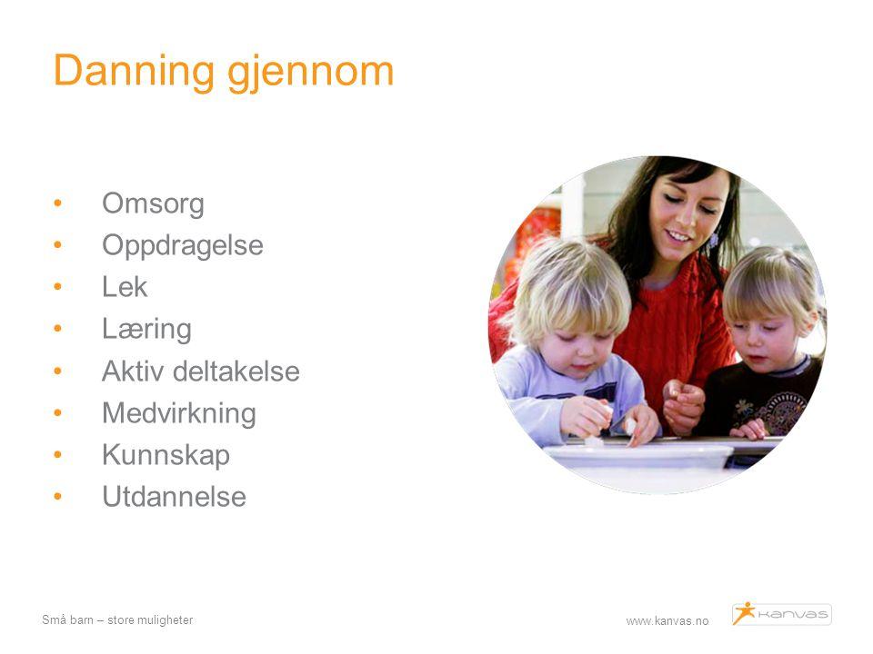 www.kanvas.no Små barn – store muligheter Danning gjennom Omsorg Oppdragelse Lek Læring Aktiv deltakelse Medvirkning Kunnskap Utdannelse