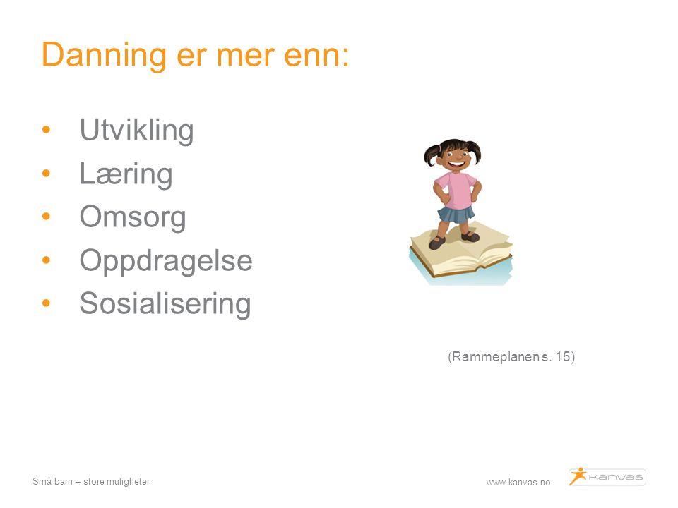 www.kanvas.no Små barn – store muligheter Læring Hvordan ser vi på samarbeid om kunnskap Med-undrende Med-oppdagende Hjelpe barn å finne «svar» Identifisere, imitere Resiprok - samarbeidslæring TPR- Total physical respons