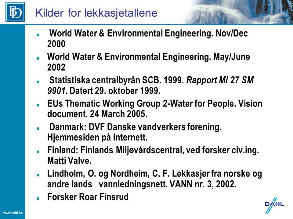 www.dahl.no Kilder for lekkasjetallene World Water & Environmental Engineering. Nov/Dec 2000 World Water & Environmental Engineering. May/June 2002 St