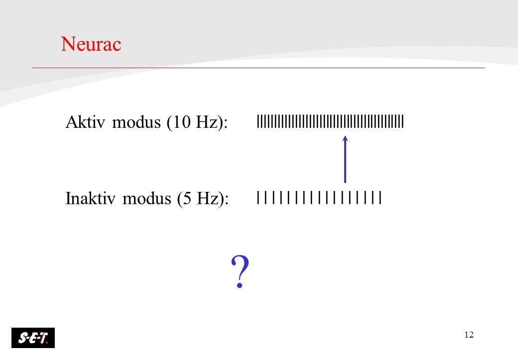 12 Aktiv modus (10 Hz): lllllllllllllllllllllllllllllllllllllllllll Inaktiv modus (5 Hz): l l l l l l l l l l l l l l l l l Neurac ?