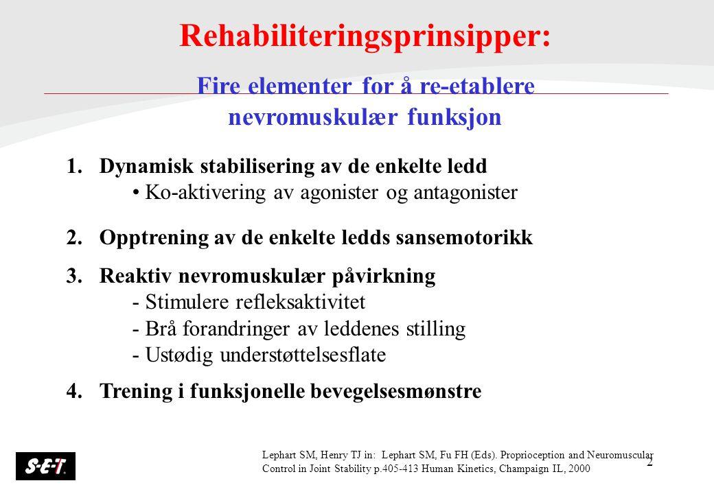 2 Rehabiliteringsprinsipper: Fire elementer for å re-etablere nevromuskulær funksjon 1.Dynamisk stabilisering av de enkelte ledd Ko-aktivering av agon