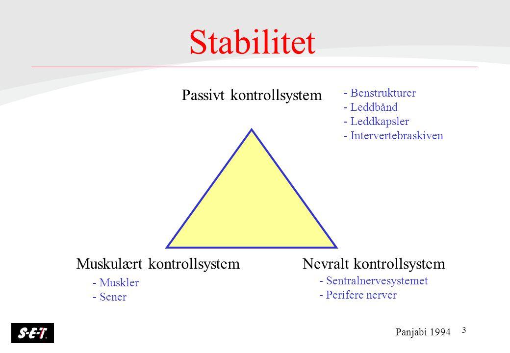 3 Stabilitet Passivt kontrollsystem Muskulært kontrollsystemNevralt kontrollsystem Panjabi 1994 - Benstrukturer - Leddbånd - Leddkapsler - Interverteb
