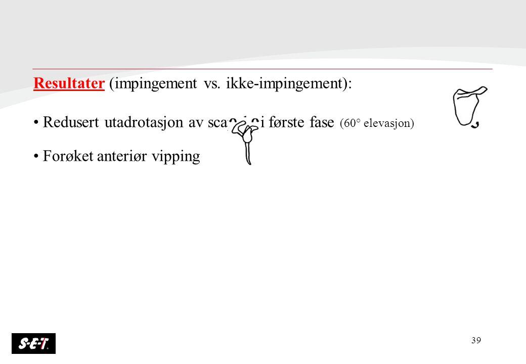 39 Resultater (impingement vs. ikke-impingement): Redusert utadrotasjon av scapula i første fase (60° elevasjon) Forøket anteriør vipping Nedsatt akti