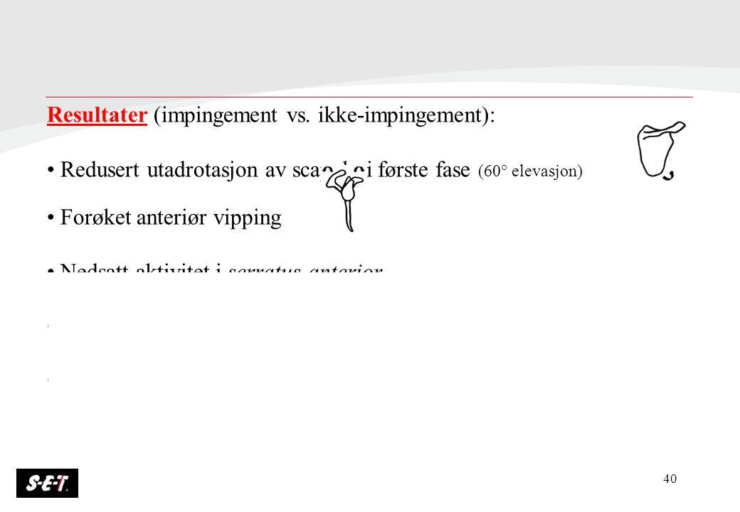 40 Resultater (impingement vs. ikke-impingement): Redusert utadrotasjon av scapula i første fase (60° elevasjon) Forøket anteriør vipping Nedsatt akti
