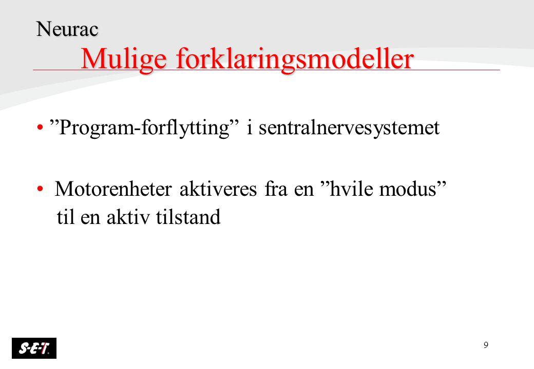 """9 Mulige forklaringsmodeller """"Program-forflytting"""" i sentralnervesystemet Motorenheter aktiveres fra en """"hvile modus"""" til en aktiv tilstand Neurac"""