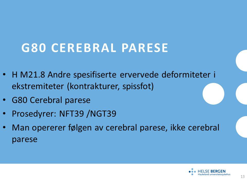 G80 CEREBRAL PARESE H M21.8 Andre spesifiserte ervervede deformiteter i ekstremiteter (kontrakturer, spissfot) G80 Cerebral parese Prosedyrer: NFT39 /