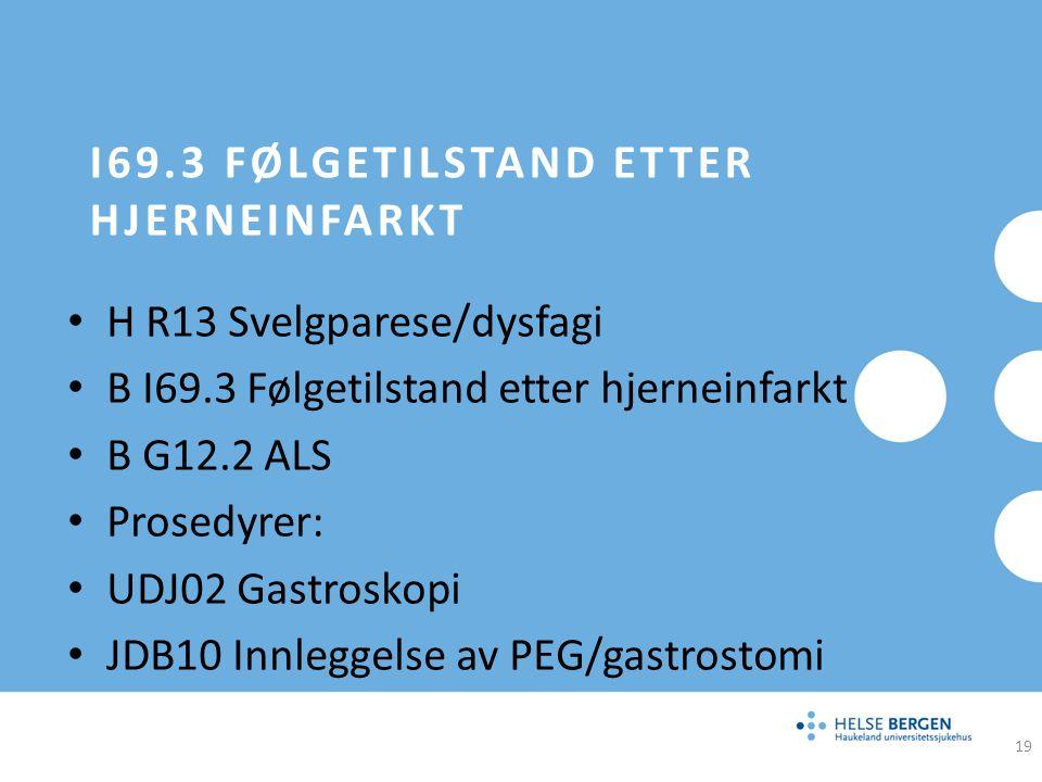 I69.3 FØLGETILSTAND ETTER HJERNEINFARKT H R13 Svelgparese/dysfagi B I69.3 Følgetilstand etter hjerneinfarkt B G12.2 ALS Prosedyrer: UDJ02 Gastroskopi