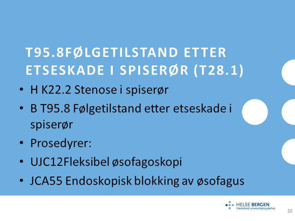 T95.8FØLGETILSTAND ETTER ETSESKADE I SPISERØR (T28.1) H K22.2 Stenose i spiserør B T95.8 Følgetilstand etter etseskade i spiserør Prosedyrer: UJC12Fle