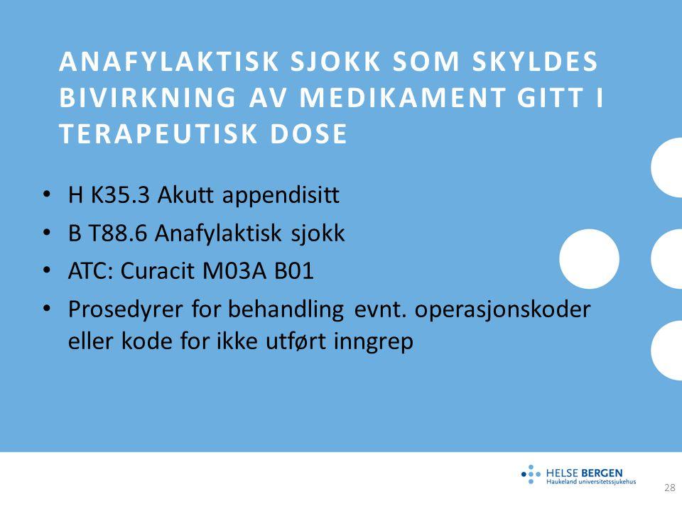 ANAFYLAKTISK SJOKK SOM SKYLDES BIVIRKNING AV MEDIKAMENT GITT I TERAPEUTISK DOSE H K35.3 Akutt appendisitt B T88.6 Anafylaktisk sjokk ATC: Curacit M03A