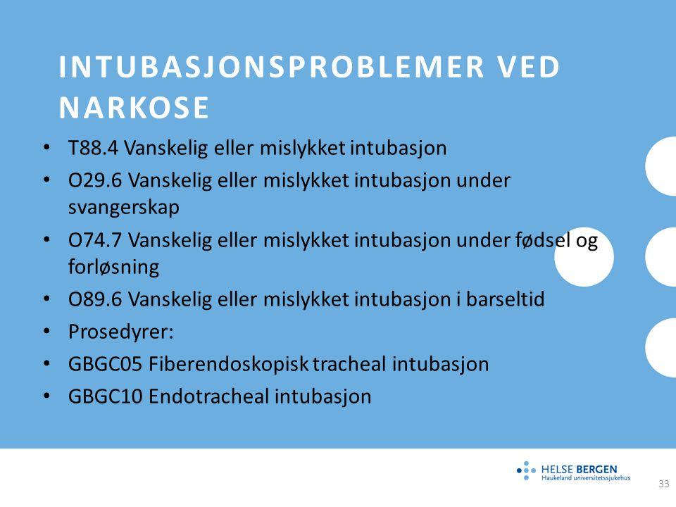 INTUBASJONSPROBLEMER VED NARKOSE T88.4 Vanskelig eller mislykket intubasjon O29.6 Vanskelig eller mislykket intubasjon under svangerskap O74.7 Vanskel