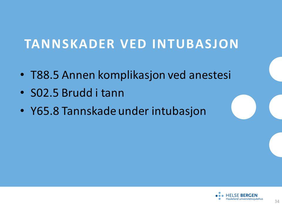 TANNSKADER VED INTUBASJON T88.5 Annen komplikasjon ved anestesi S02.5 Brudd i tann Y65.8 Tannskade under intubasjon 34