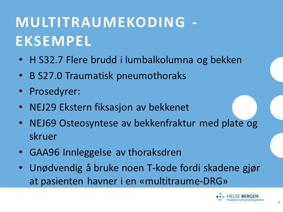 MULTITRAUMEKODING – EKSEMPEL OMFATTENDE SKADER, UFULLSTENDIG UTREDET H T04.7 Knusningsskader, bryst, buk, bekken og ekstremiteter Pasienter som kommer inn med store skader der man ikke utfører fullstendige undersøkelser, men må operere med pakking av buk/bekken.