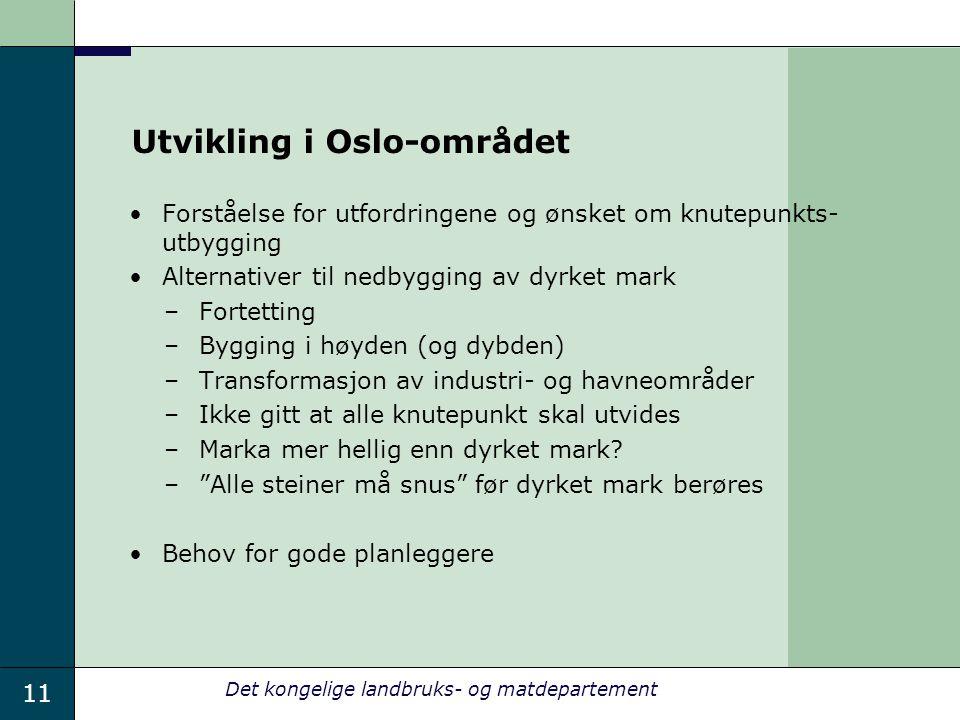 11 Det kongelige landbruks- og matdepartement Utvikling i Oslo-området Forståelse for utfordringene og ønsket om knutepunkts- utbygging Alternativer t