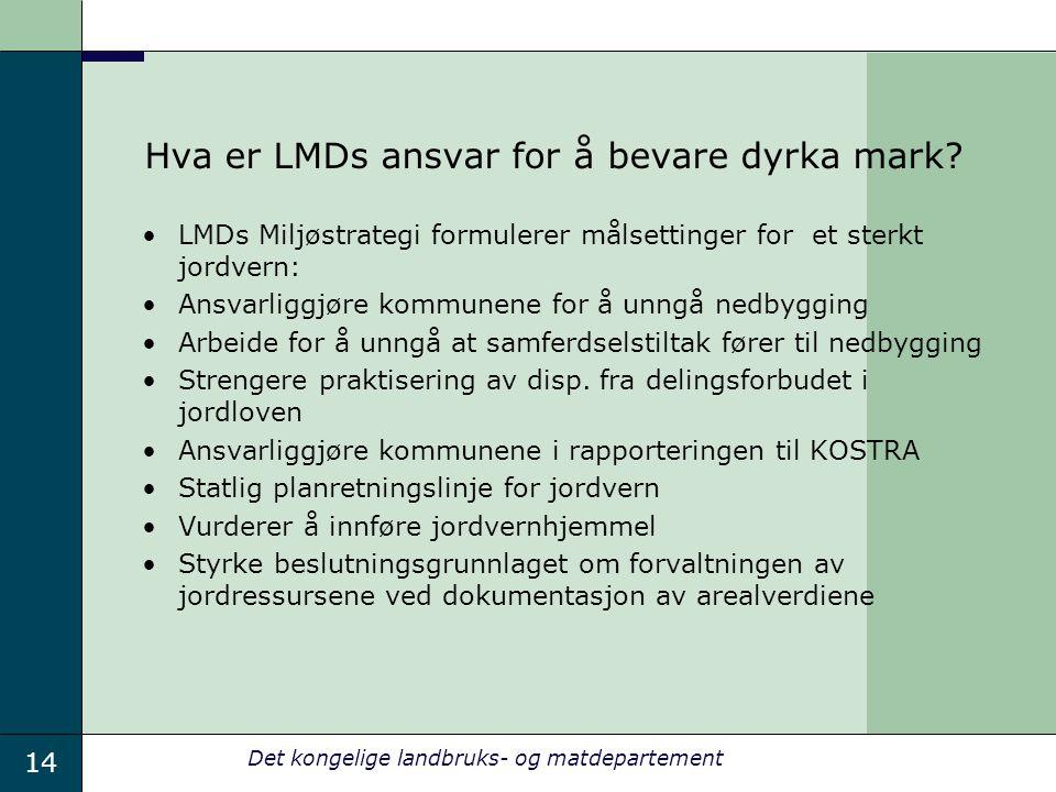 14 Det kongelige landbruks- og matdepartement Hva er LMDs ansvar for å bevare dyrka mark? LMDs Miljøstrategi formulerer målsettinger for et sterkt jor