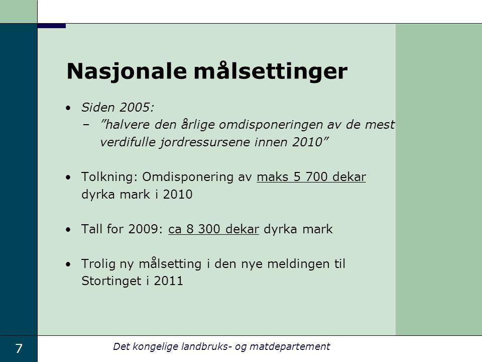 """7 Det kongelige landbruks- og matdepartement Nasjonale målsettinger Siden 2005: –""""halvere den årlige omdisponeringen av de mest verdifulle jordressurs"""