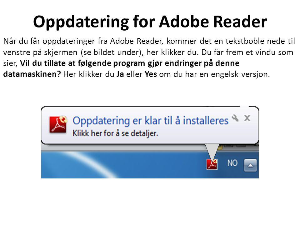 Oppdatering for Adobe Reader Når du får oppdateringer fra Adobe Reader, kommer det en tekstboble nede til venstre på skjermen (se bildet under), her klikker du.