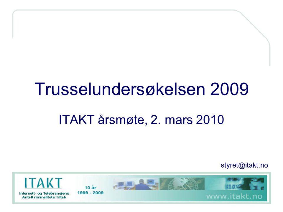 Infrastruktur og kommunikasjonslinjer Dette var et spesialtema for 2008-undersøkelsen Spørsmål om avhengighet til følgende er videreført i 2009: –E-post –Internett –Telefoni –Kommunikasjonslinjer