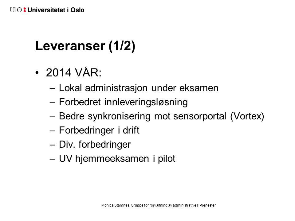 Leveranser (1/2) 2014 VÅR: –Lokal administrasjon under eksamen –Forbedret innleveringsløsning –Bedre synkronisering mot sensorportal (Vortex) –Forbedringer i drift –Div.