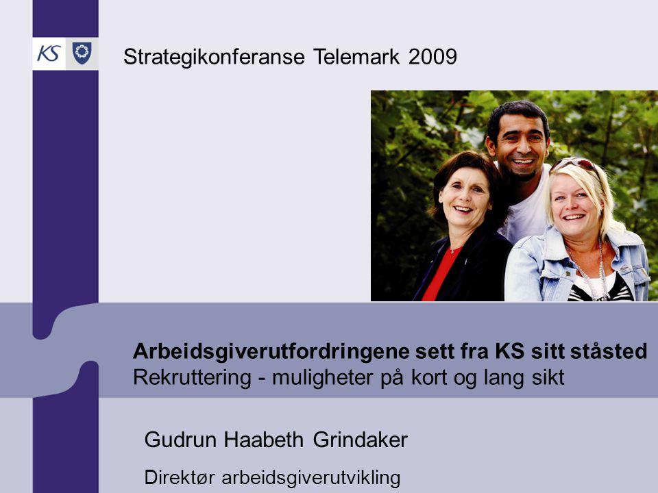 Arbeidsgiverutfordringene sett fra KS sitt ståsted Rekruttering - muligheter på kort og lang sikt Strategikonferanse Telemark 2009 Gudrun Haabeth Grindaker Direktør arbeidsgiverutvikling
