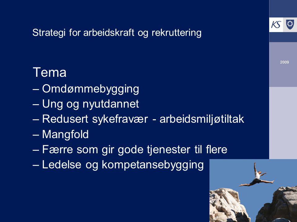 2009 Tema –Omdømmebygging –Ung og nyutdannet –Redusert sykefravær - arbeidsmiljøtiltak –Mangfold –Færre som gir gode tjenester til flere –Ledelse og kompetansebygging Strategi for arbeidskraft og rekruttering