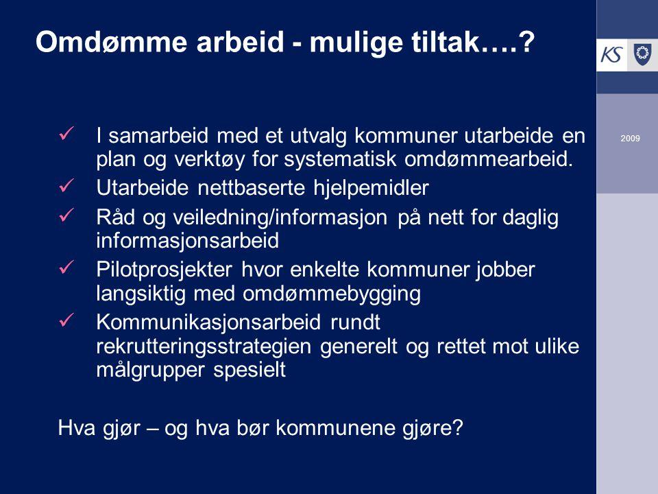 2009 Omdømme arbeid - mulige tiltak…..