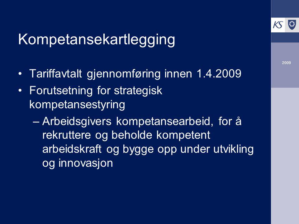 2009 Kompetansekartlegging Tariffavtalt gjennomføring innen 1.4.2009 Forutsetning for strategisk kompetansestyring –Arbeidsgivers kompetansearbeid, fo