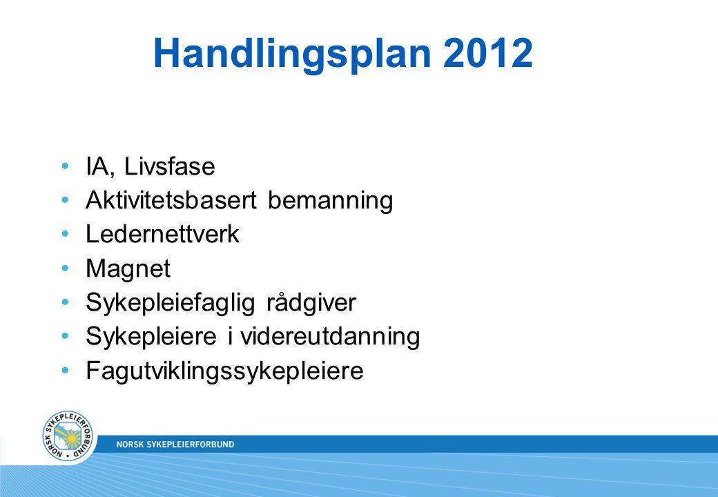 Handlingsplan 2012 IA, Livsfase Aktivitetsbasert bemanning Ledernettverk Magnet Sykepleiefaglig rådgiver Sykepleiere i videreutdanning Fagutviklingssy