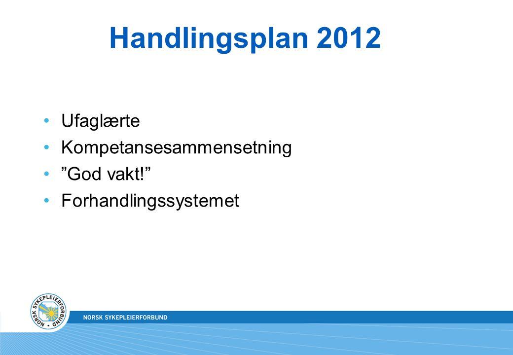 """Handlingsplan 2012 Ufaglærte Kompetansesammensetning """"God vakt!"""" Forhandlingssystemet"""