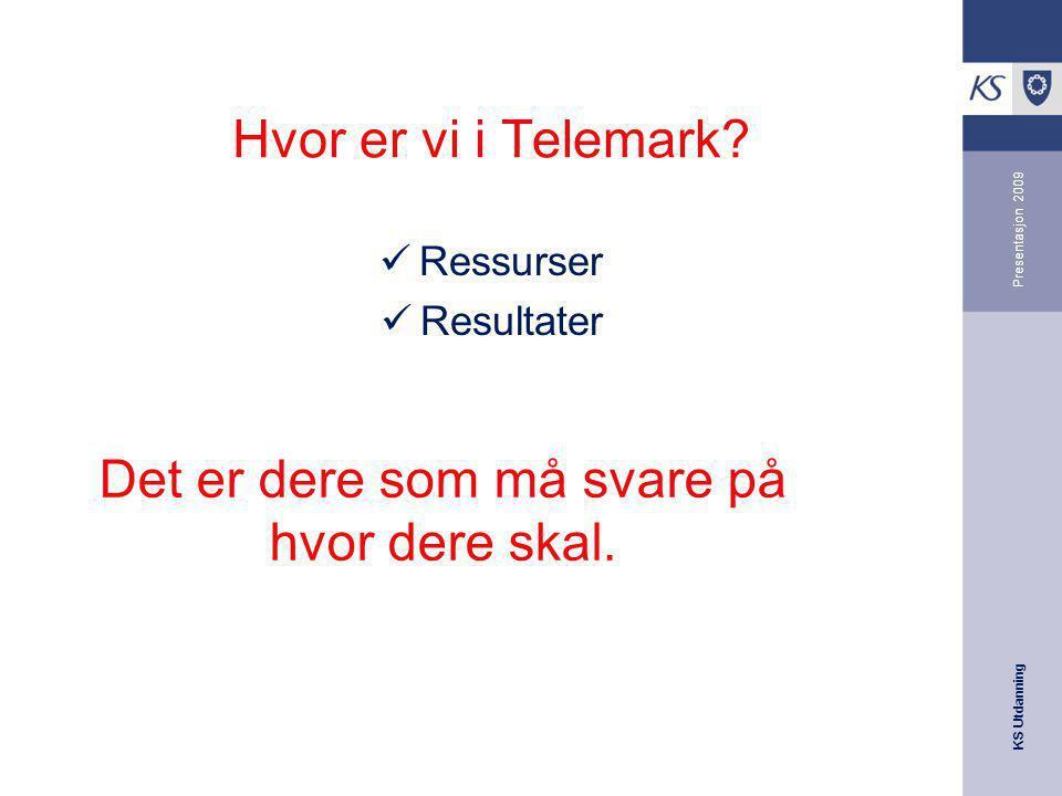 KS Utdanning Presentasjon 2009 Hvor er vi i Telemark? Ressurser Resultater Det er dere som må svare på hvor dere skal.