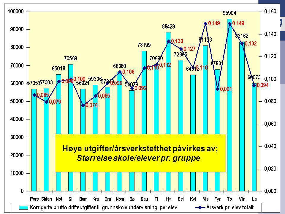 KS Utdanning Presentasjon 2009 Høye utgifter/årsverkstetthet påvirkes av; Størrelse skole/elever pr. gruppe